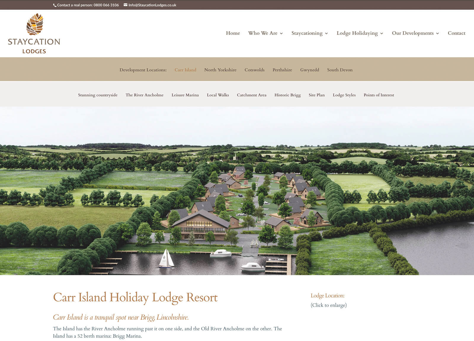 holiday resort website - resort overview