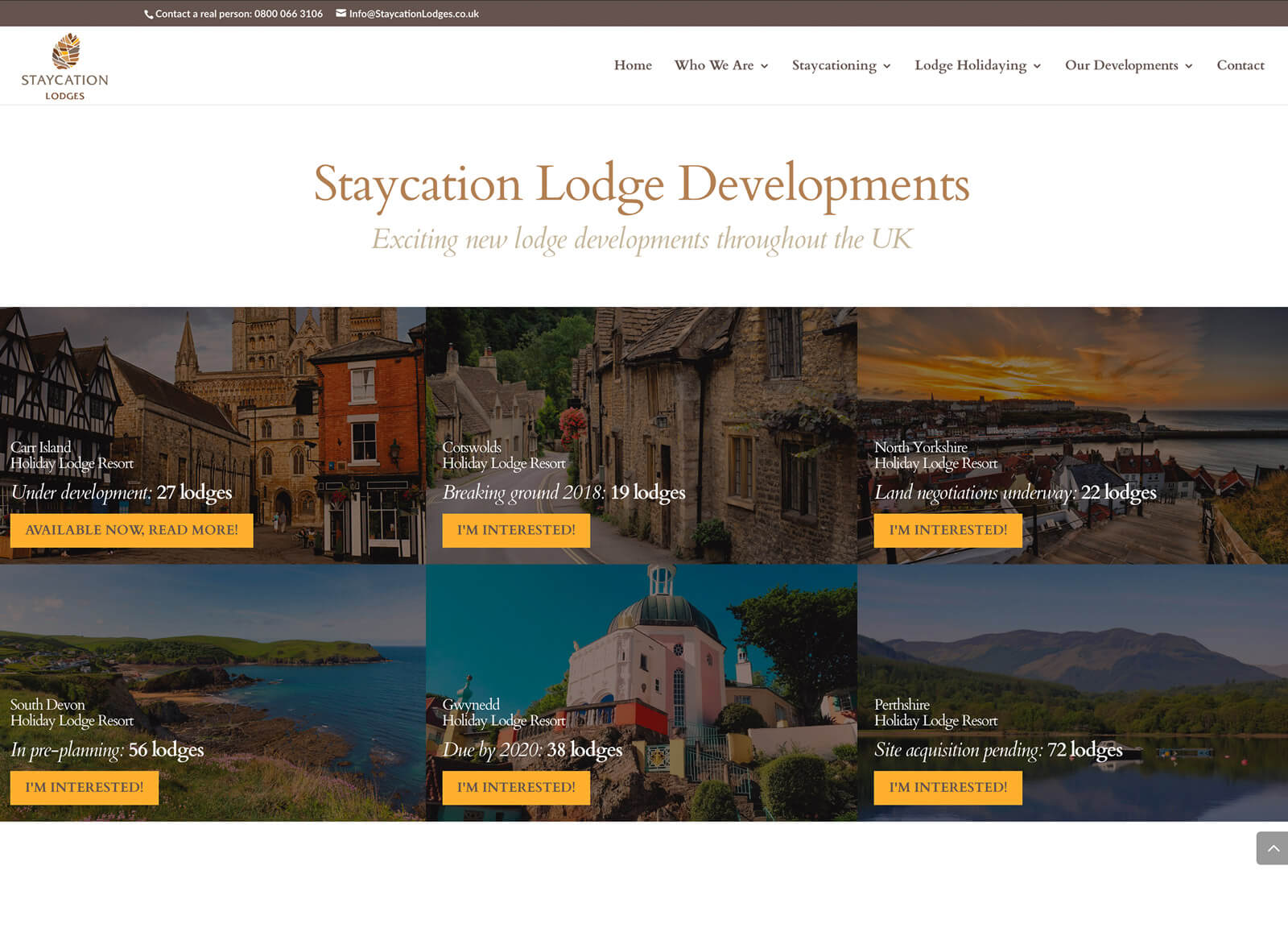 holiday resort website - Lodge developments