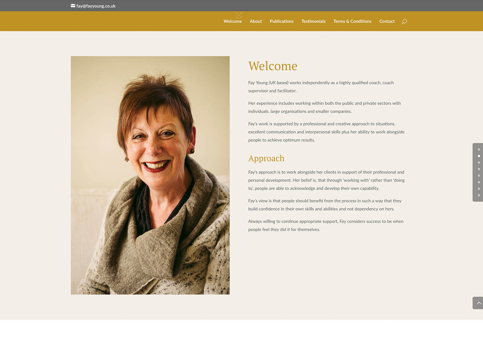 Quick website design for local self-employed consultant website: Welcome page