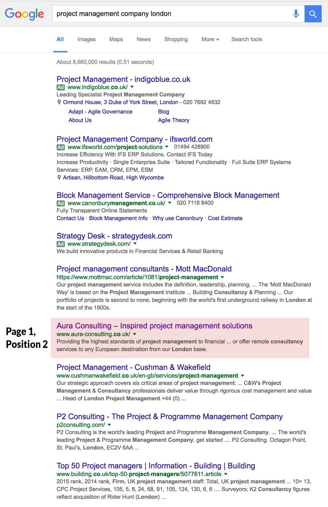 google position - project management company london
