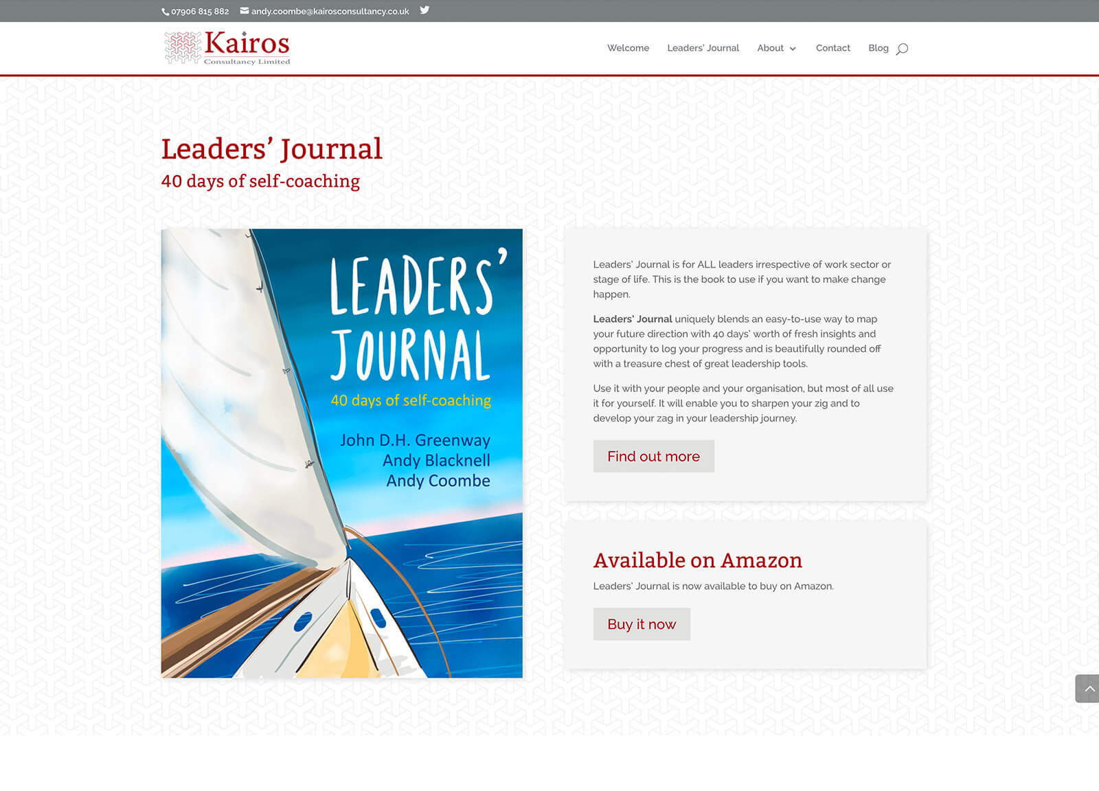 Consultancy company website design: Leaders' Journal book purchase section