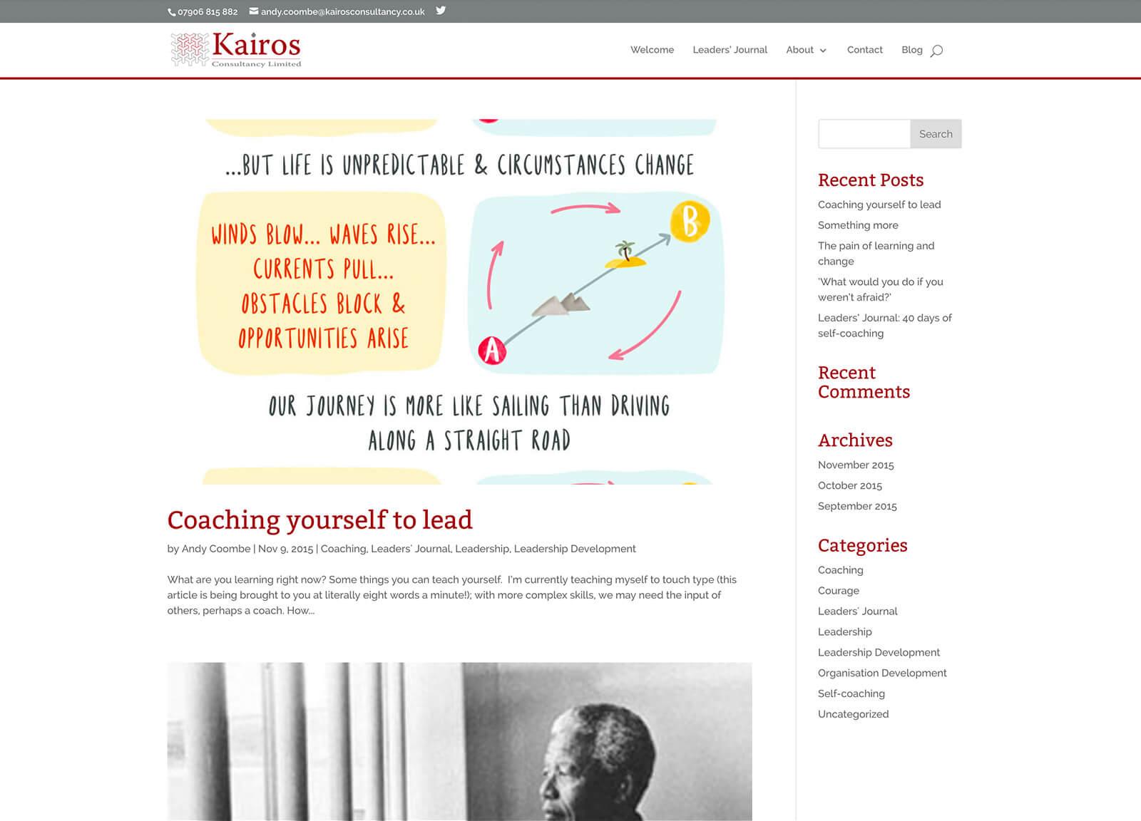 Consultancy company website design: Blog Page