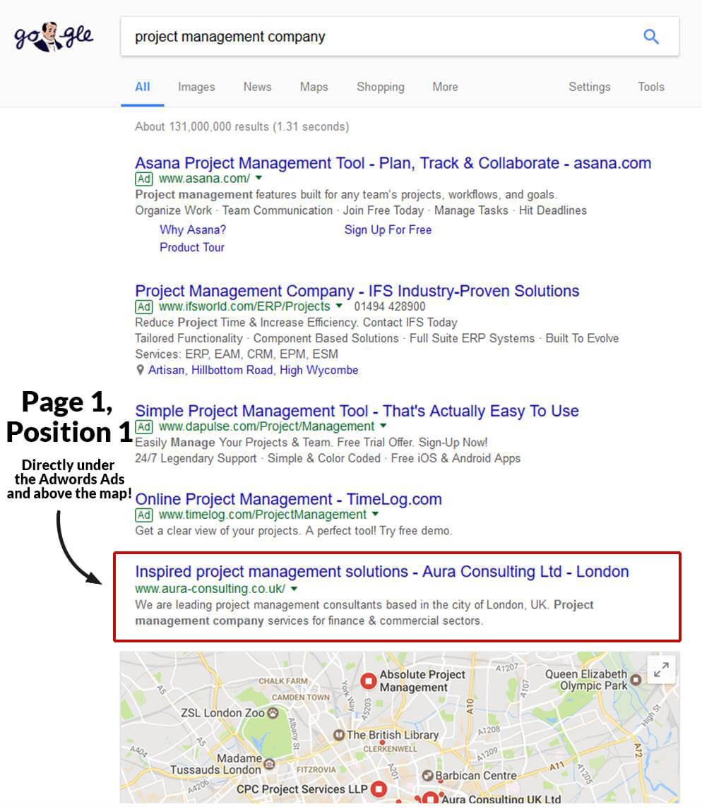 google position - project management company website