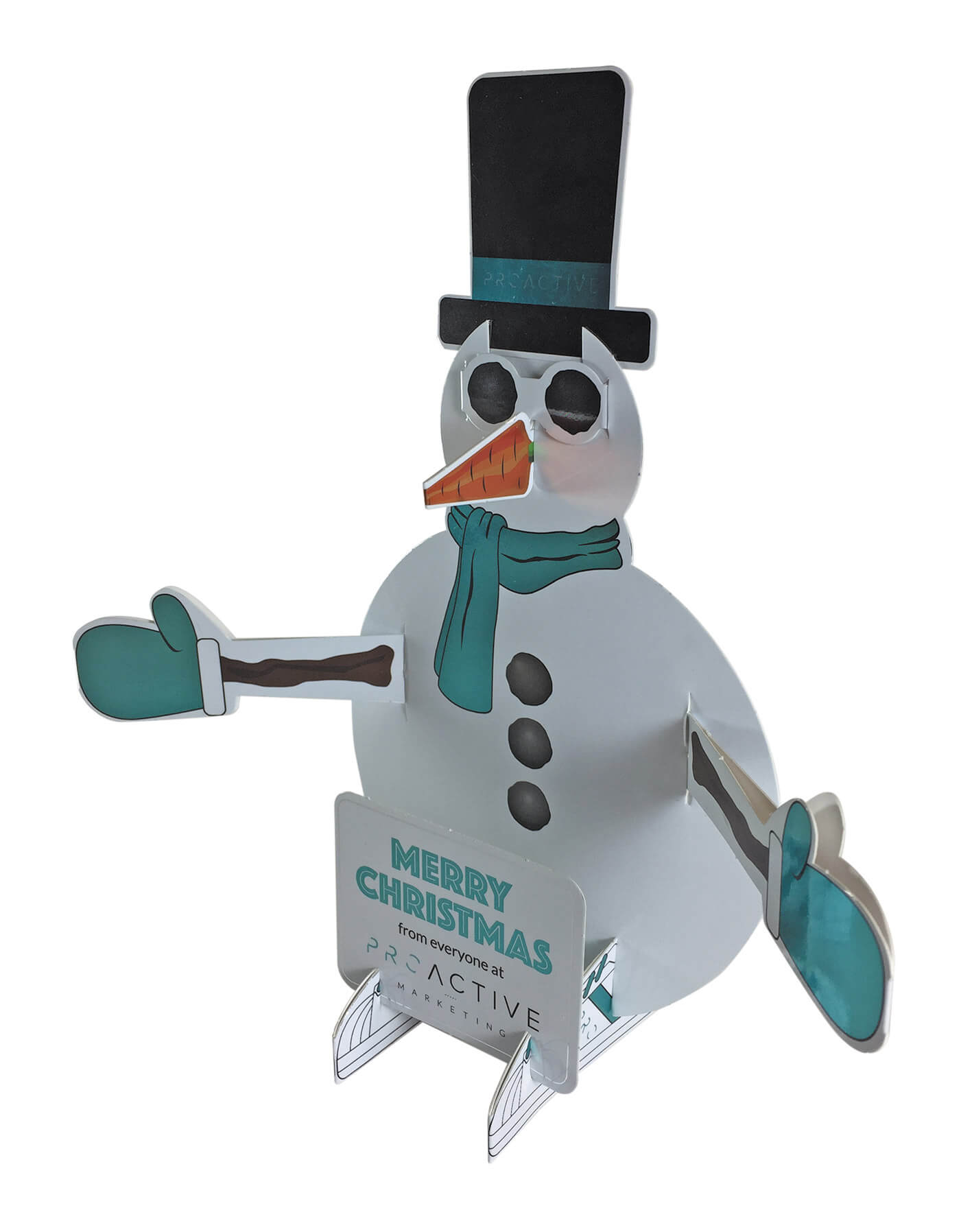 Christmas card printing - Cut-out Snowman