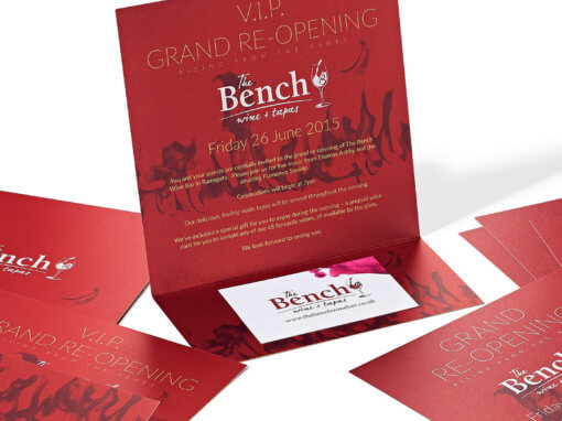 Making a big impact with metallic wine bar invitations