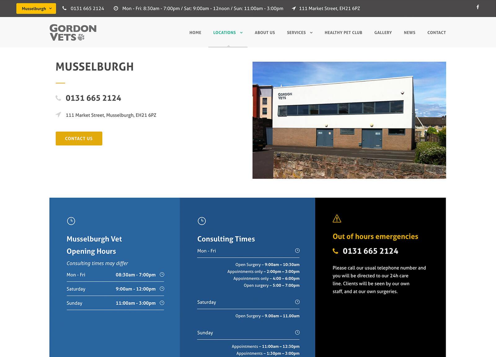 Musselburgh vet practice page - Gordon Vets website design