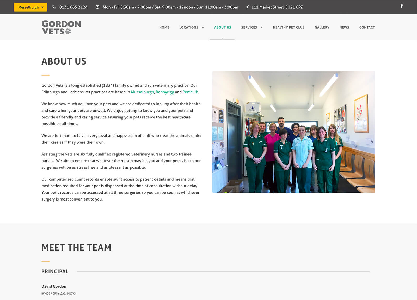 About us page - website design for vets