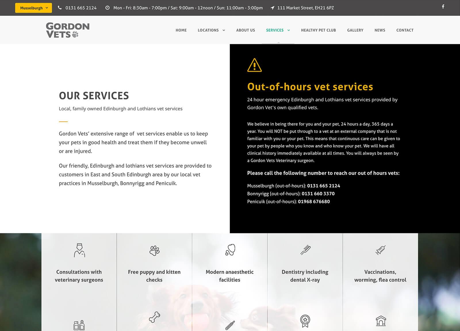 Vet Services page - Gordon Vets website design