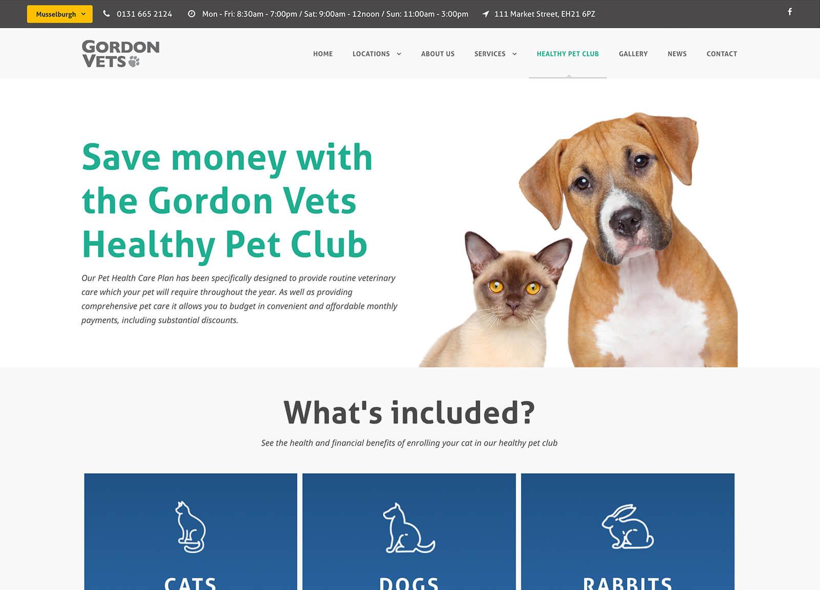 Healthy Pet Club page - Gordon Vets website design